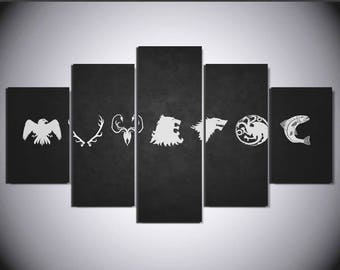 5 Panels Game of Thrones House Symbols Stark Greyjoy Targaryen Lannister Baratheon Tully Arryn Canvas Art Multi Grouped Art Work asoiaf GOT