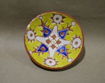 Ceramic plate plate with star, star, magic flower, floral ornament, ethnic ornament, folk, yellow plate, small ceramic plate, unique dish