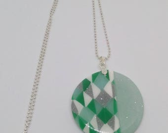 Necklace green MOZAIC triangle pattern