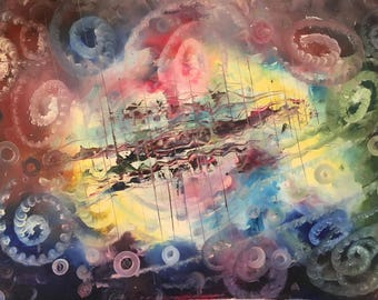 Abstract Space Oil Painting by Naci Caba