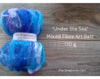 Mixed Wool Art Batt 'Under the Sea' 110 g  3.5 oz