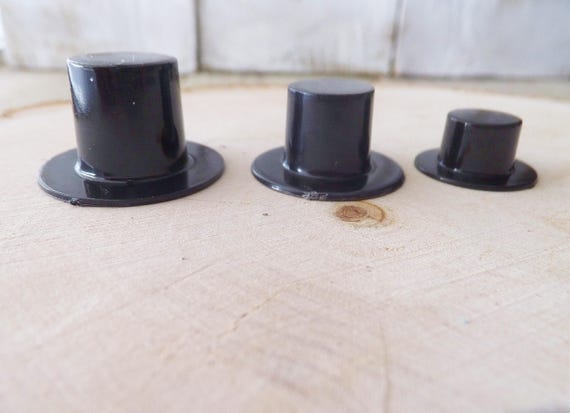 Miniature black top hat crafts set of 6 choose size for Tiny top hats for crafts