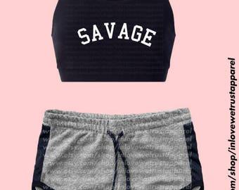 SAVAGE Sports Bra and Shorts - WORKOUT SET