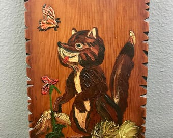 Adorable Fox Staring at a Butterfly Painted on Wood