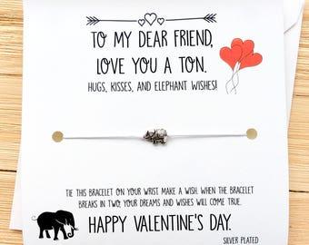 BFF Valentines Wish Bracelet Friend Valentine Card Friend Valentines Gift  Palentines Day Friend Valentines Day Gift
