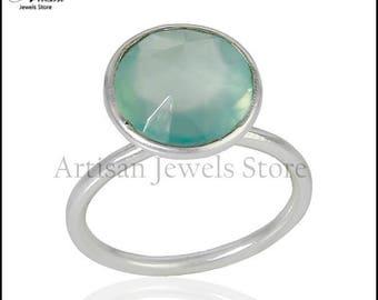 Gemstone Aqua Chalcedony Ring, 92.5 Sterling Silver Gemstone Fine Jewelry, Fine Wedding Ring