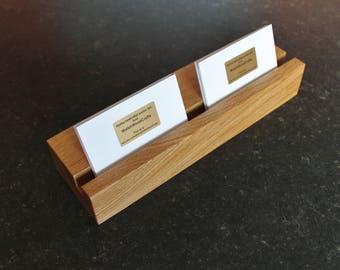 Multiple Business Card Holder. Multiple Business Card Stand. Business Card Display. Hotel Reception. Shop Counter. Oak Hardwood.