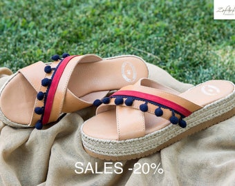 SUMMER SALES 20%- original price 50,50/final price 40,40-Genuine greek leather espadrilles style flatforms, handmade, decorated with pom pom