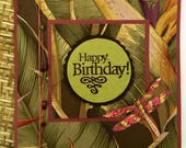 Tropical Vibes Glass Bead Birthday Guys or Girls Handmade Card