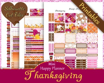 Thanksgiving~Mini Happy Planner Printable Stickers Weekly Kit For The MAMBI Mini Happy Planner with Free Silhouette Cut Files