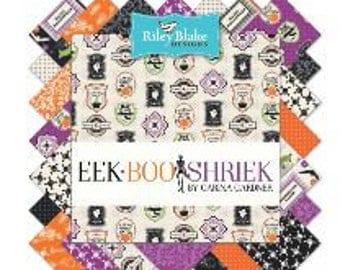 "Riley Blake Eek Boo Shriek Halloween Fabric - 5"" square stackers, 42 pieces"