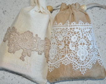 Dyed Muslin and Lace - 'Favour Bags'