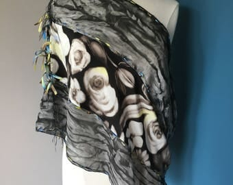 Black flowered hand-dyed infinity scarf or wrap; black poncho scarf; unique gift scarf; one-of-a-kind gift scarf; convertible scarf or shawl