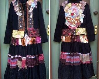 Frockcoat Embellished Upcycled Gypsy Boho Bohemian Stevie Nicks Vintage Repurposed