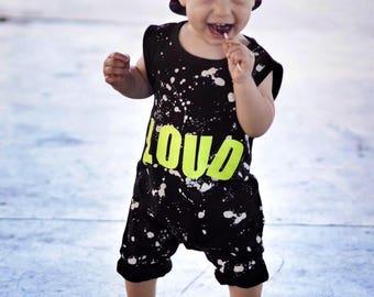 loud romper, boy romper, trendy romper, romper, paint splatter romper, hip romper, toddler romper, baby romper, baby boy romper