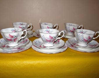 Royal Albert Fancy Free Six Trios / Cups Saucers Side Plates