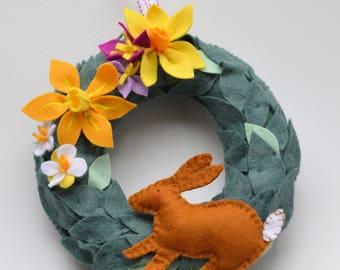 Spring wreath, handmade, felt, Easter, Flowers, Rabbit