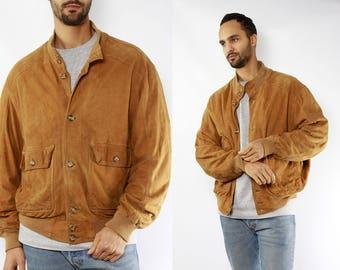 Brown Bomber Jacket / Suede Bomber Jacket / Suede Jacket Brown / Vintage Suede Jacket / 80s Suede Jacket / 80s Bomber Jacket / Suede Jacket