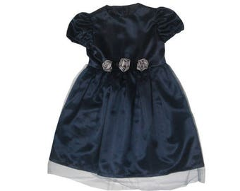 Dress Navy Blue ceremony girl satin and tulle Made In France
