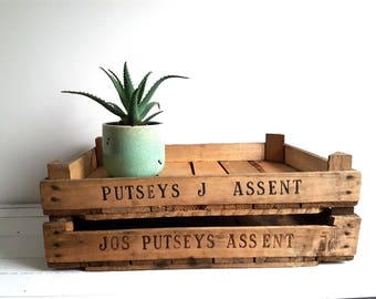 Old wooden crate 'Assent'