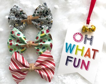 Faux Leather Holiday bow set - Buddy's Bows - set of 3