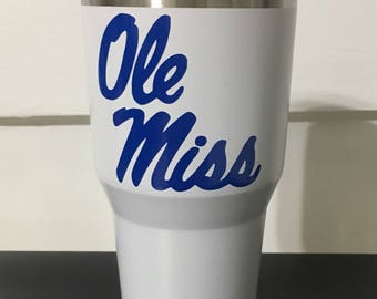 Ole Miss Rebels navy script on White 20 oz Ozark Trail tumblers NEW Game ready Grove ready
