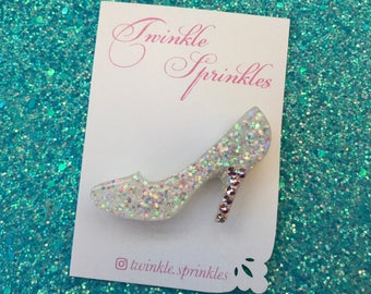 Disney Cinderella inspired shoe brooch with Swarovski crystals