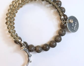 Tree friend inspired Jasper wrap bracelet