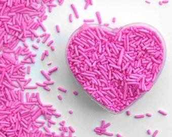 Hot Pink Crunchy Jimmies™, crunchy sprinkles, skinny sprinkles, sugar strands, canadian sprinkles, bright pink sprinkles, fancy sprinkles