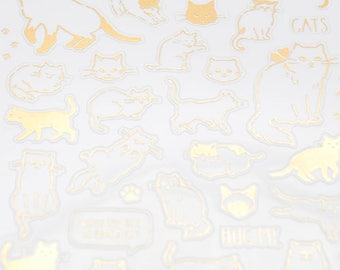 Mind Wave Gold Foil Stickers Series -Cuddly Cat Stickers