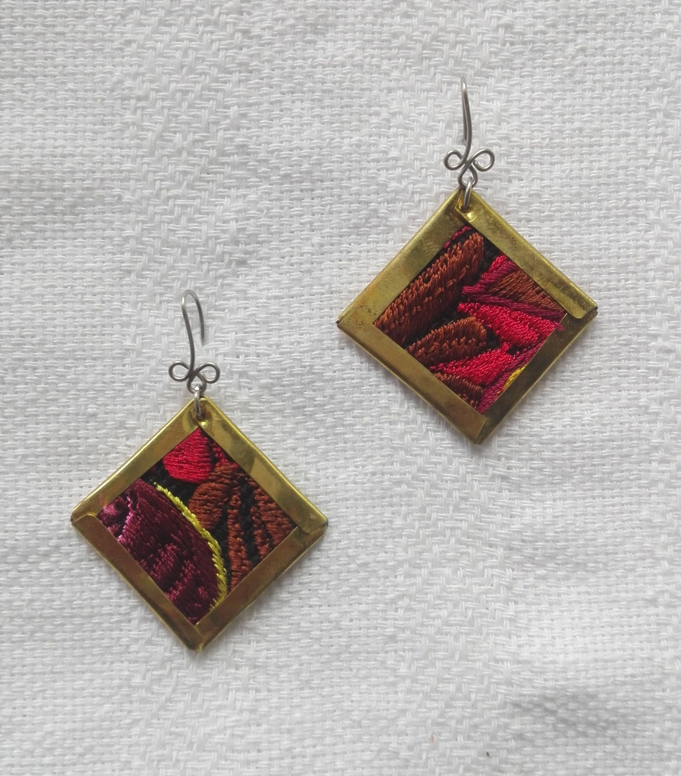 Sofia earring a traditional mexican embroidery on piece of