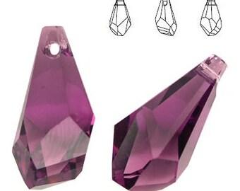 Swarovski Elements, Polygon Drop 17mm Amethyst, 6015, Swarovski Polygon, Swarovski drop, Amethyst crystal, Swarovski crystal, purple crystal