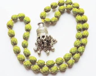 Banjara One-of-a-kind Upcycled Sari Bead Pendant Necklace - Lime Green