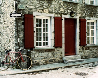 Wrong Way - Quebec, Canada, bike, one way, red, old architecture, travel photography, film