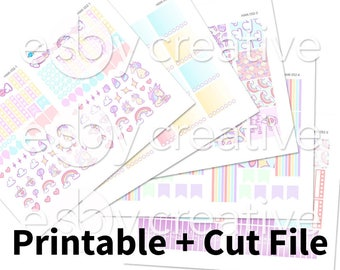 Sparkles the Unicorn Pastel - Weekly Sticker Kit Printable for Erin Condren Horizontal - HWK-052 - INSTANT DOWNLOAD