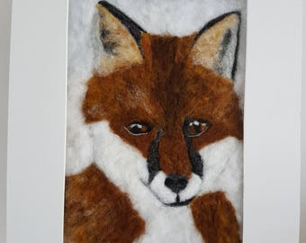 Large needlefelt fox portrait.