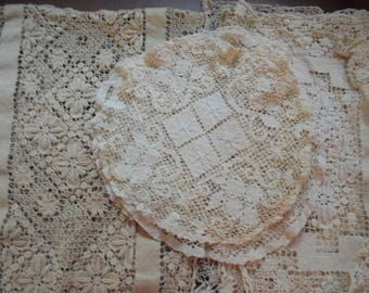 Vintage Embroidered Lace Table Set (10 Piece Set)