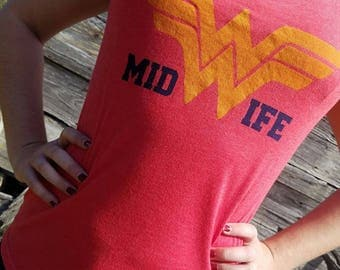 WONDERful Midwife T- Shirts. Vintage style, soft red V-neck. BLUE OR YELLOW one color only, screen printed ink.