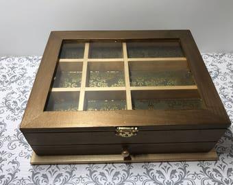 Window jewelry box with drawer