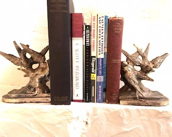 SOLD - Vintage 1700s RARE bookends beautiful detailed trios of flying birds in brass crafted by famed highly collectible Philadelphia MFG co