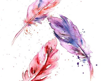 3 Pink Feathers Watercolour Original Painting