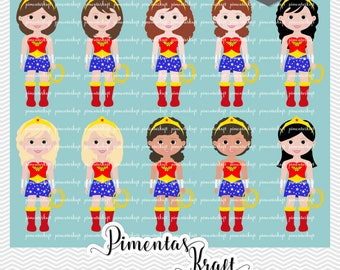Kit Digital Clipart,Wonder Woman,Wonder Woman Clipart,Mulher Maravilha Cute,clipart,superhero,wonderwoman,mulhermaravilha,cute,girl party