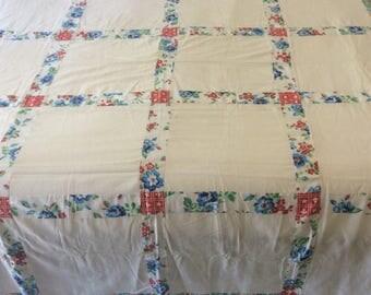 Vintage 1940's-1950's sugar sack quilt top