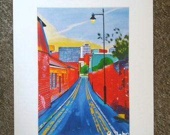 "Limited edition print - Cotton Street - Kelham Island, Sheffield  - A3, A4 or 7"" x 5"" Print of an Original Painting by Bryan John"