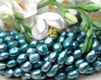 "6mm Teal Blue Baroque Freshwater Pearl Beads 16"" Strand 918"