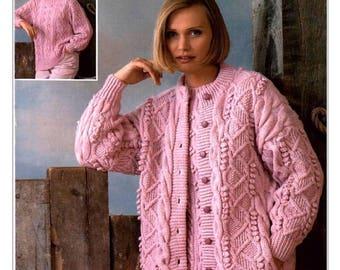 Ladies, Womens, Aran Round Neck Cardigan & Sweater, Jumper in Aran or Double Knitting Vintage Knitting Pattern, PDF, Digital Download