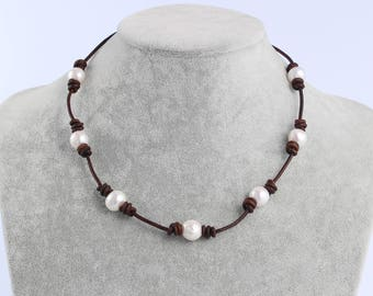 Pearl leather necklace,pearl choker necklace,leather choker necklace,birthday gift,leather pearl necklace,white pearl necklace,for women
