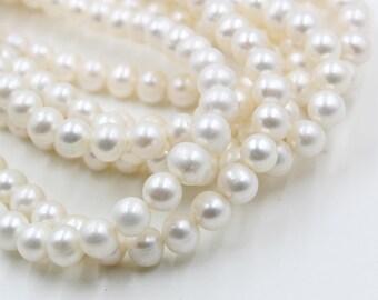 9 mm white round freshwater pearls, white round pearl,15'' full strand, round pearl strands, pearl wholesale