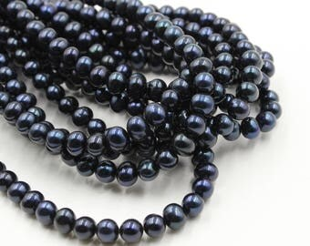 9 mm black round freshwater pearls, black round pearl, 15'' full strand, round pearl strands, pearl wholesale