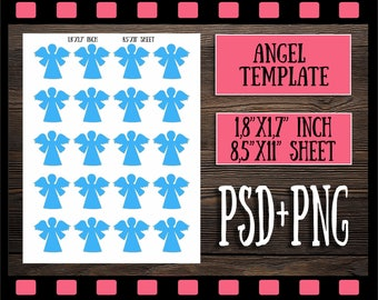 Digital Angel Valentines Stencil Psd Png Template Collage Sheets Premade Pages